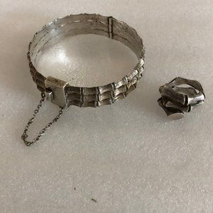 Vtg MCM Taxco Silver Hinged Bracelet & Ring